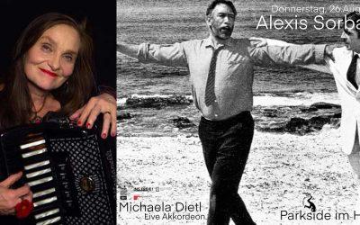 Do 26.08.2021, 19 Uhr – Filmklubb SOMMERWANDKINO – Special Alexis Sorbas mit Live Akkordeonistin Michaela Dietl